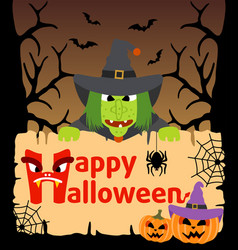 halloween background card with witch vector image vector image
