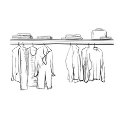 Hand drawn wardrobe sketch Clothes on the hanger vector image vector image