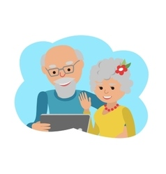 Happy senior couple with tablet vector
