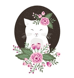 Hipster kitty with flowers on vintage textured vector