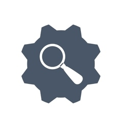 Lupe gear search magnifying glass icon vector