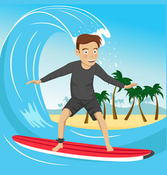 Male surfer riding large blue ocean wave vector