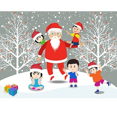 Merry christmas with santa claus and kids vector