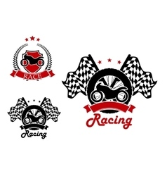 Motosport and racing icons with heraldic elements vector image vector image