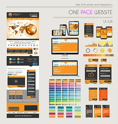One page website flat ui uxdesign template vector