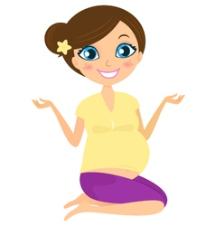 Pregnant yoga woman vector