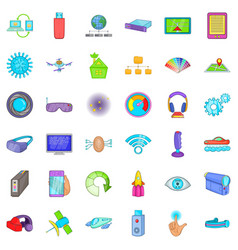 radio technology icons set cartoon style vector image