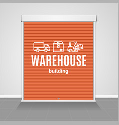 realistic detailed 3d red warehouse shutter door vector image