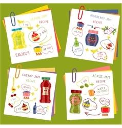 Recipe of cooking jam set vector