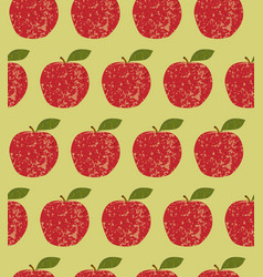 Seamless pattern fruit red apple vector