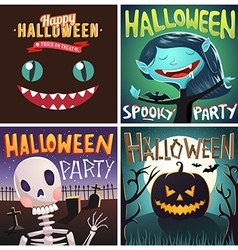 Set of Happy Halloween cartoon Party posters or vector image vector image