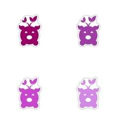 Set of paper stickers on white background eco pig vector