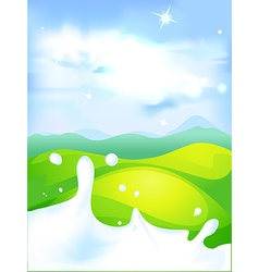 Splash of milk - with green field and natura vector