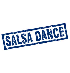 Square grunge blue salsa dance stamp vector