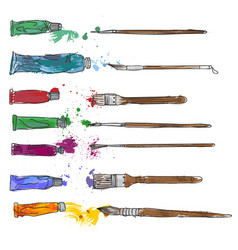 Stationery art materials set of paint brushes vector