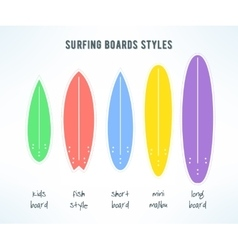 surfboards types set infographics made in vector image