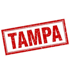 Tampa red square grunge stamp on white vector