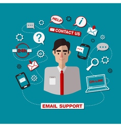 Technical email support service with man online vector