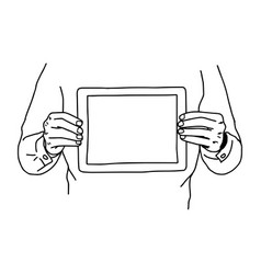 two hands holding tablet on his chest - vector image