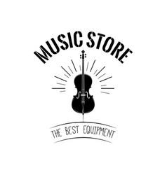 violin in beams music store logo vector image