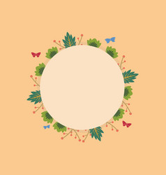 Wreath round frame with flower vector
