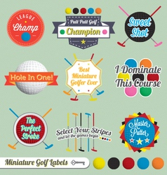 Miniature golf labels and icons vector