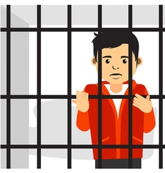 Handsome guy inside jail vector