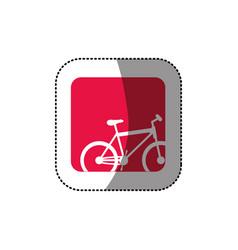 Sticker color square button with contour sport vector
