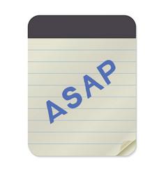 Asap lettering notebook template vector