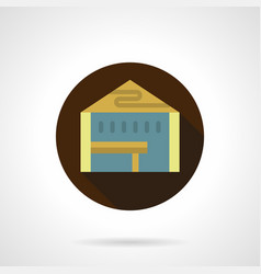 Market tent brown round icon vector