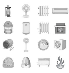 heating cooling icons set monochrome vector image