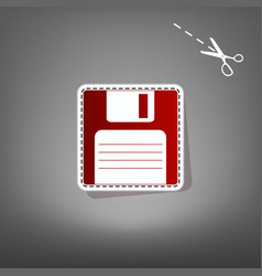 floppy disk sign  red icon with for vector image