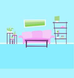 Living room with sofa and flowers vector