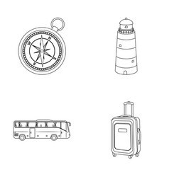 Vacation travel lighthouse compass rest and vector