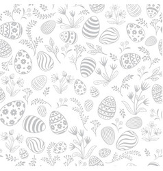 Easter egg seamless pattern floral holiday vector