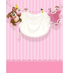 Baby girl pink openwork announcement card vector
