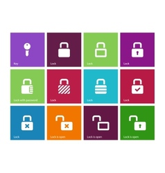Locks icons on color background vector