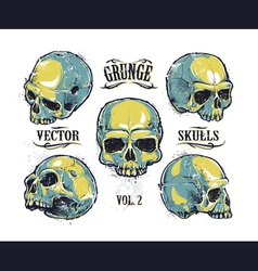 Skulls hand drawn set 3 vector