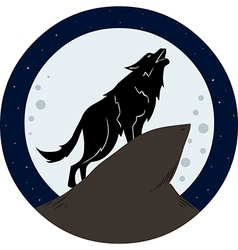 Wolf howling to the moon at night vector