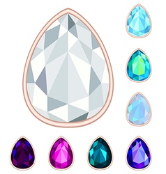 Teardrop gemstone set vector