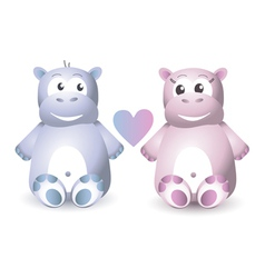 Two cute hippo sitting vector