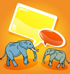 Elephants with speech bubbles vector