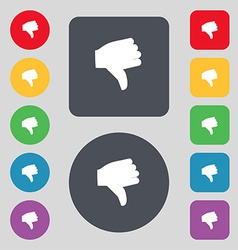 Dislike thumb down icon sign a set of 12 colored vector