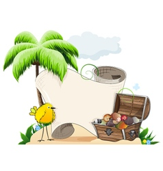 Tropical island with treasure chest vector