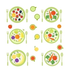Plates with fruits berries and vegetables vector