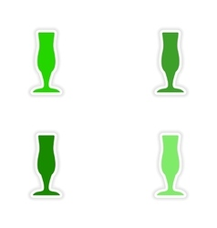 Assembly realistic sticker design on paper drinks vector