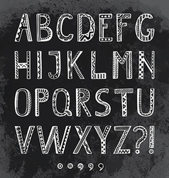 Fantasy hand drawn font in doodle style letters vector