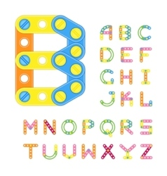 Colorful latin alphabet made of plastic elements vector