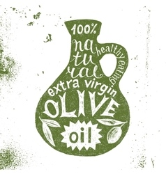 Silhouette of olive oil bottle with text design vector