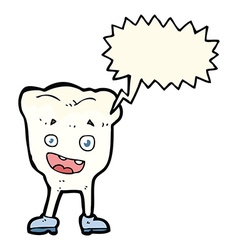 Cartoon tooth with speech bubble vector